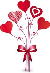 Roter Herz-Blumenstrauß, Vektor