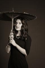 Девушка старинный зонтик ретро