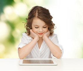 happy smiling girl with tablet pc computer