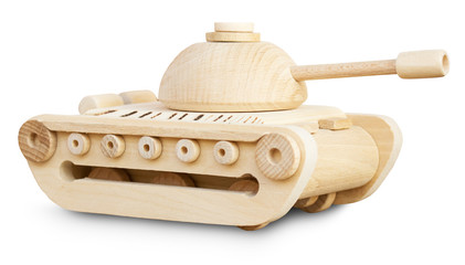 wooden model of tank on the white background
