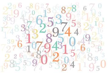 An abstract background with random colorful numbers