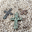 old crosses in the sand