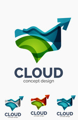 Modern cloud logo set