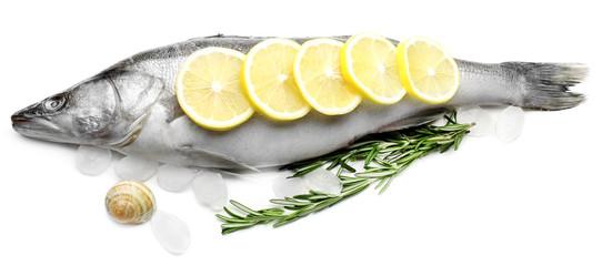 Fresh fish with ice and lemon isolated on white