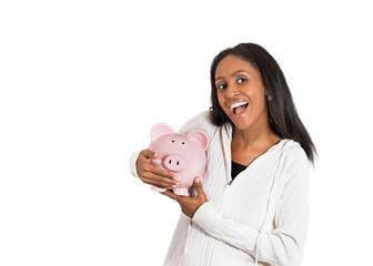 happy business woman, bank employee holding piggy bank