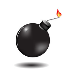 Burning bomb on a white background with shadow