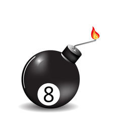 Bowling ball in the form of a burning bomb