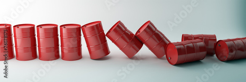 Red oil barrels isolated on white background. Falling barrels. - 76078175