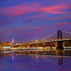 Manhattan Bridge sunset New York NY NYC USA