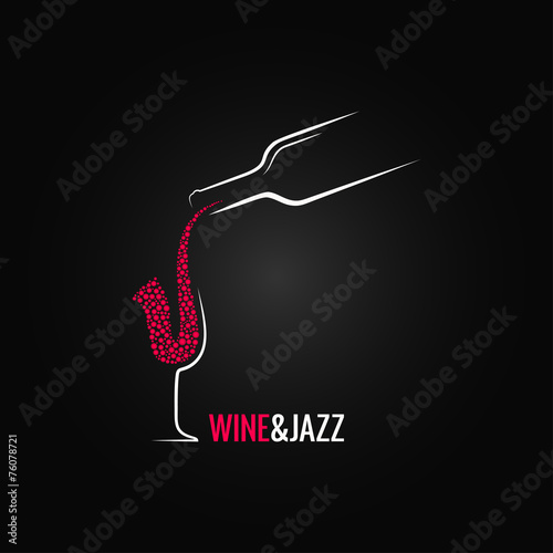 wine and jazz concept design background - 76078721