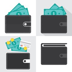 Wallet icon and money in it