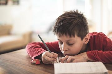 Boy doing homework reluctantly