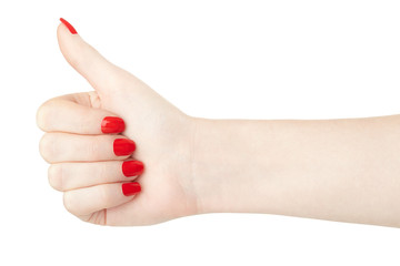 Woman hand with red nail polish thumb up on white, clipping path