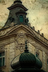 Old photo with facade on classical building. Belgrade, Serbia 7