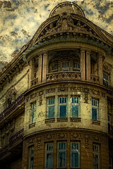 Old photo with facade on classical building. Belgrade, Serbia 8