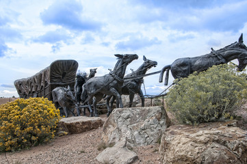 Lifesize Sculpture at end of the Santa Fe Wagon Train Trail