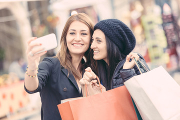 Happy Women Taking Selfie after Shopping