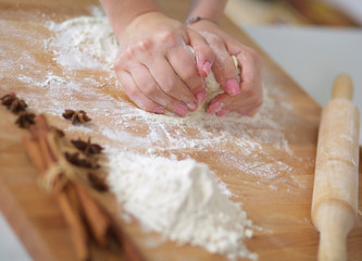 Woman kneading dough, close-up