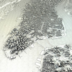 New York mappa cartina vista satellitare disegno