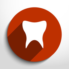 Vector flat icon of tooth.