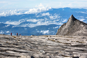 Hikers at the Top of Mount Kinabalu in Sabah, Malaysia
