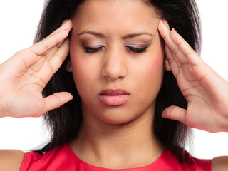 Headache, migraine. Stressed woman worried girl head pain