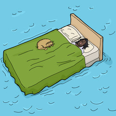 Woman and Cat Asleep on Waterbed
