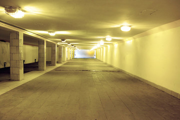 close-up of an underground passage with lights