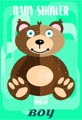 Baby shower - it is a boy, brown hairy bear, green background
