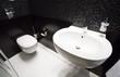 canvas print picture - Dark modern toilet interior