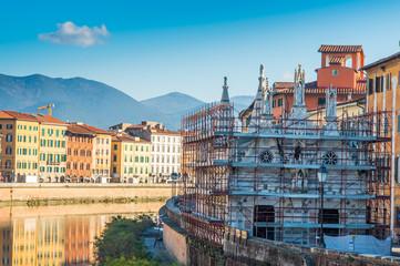 Chiesa di S. Maria della Spina, impalcature restauro, Pisa