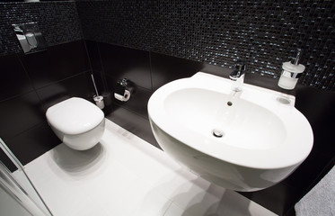 Dark modern toilet interior