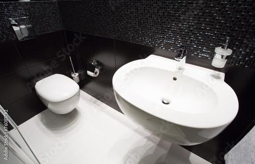 canvas print picture Dark modern toilet interior