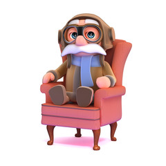 3d Pilot relaxes in an armchair