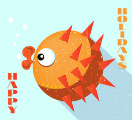 Card with orange fish, blue background, flat style, text Happy