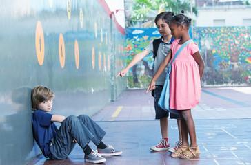 Little kids bullying kid in schoolyard