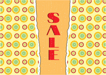 Card with floral pattern, text sale