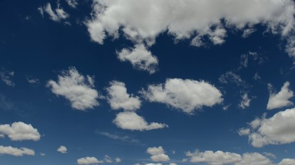 Timelapse clouds moving on blue sky, HD video