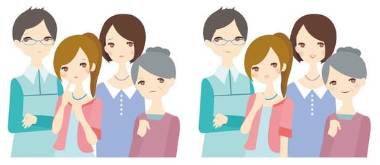 家族 困り顔 安心顔