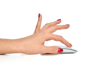 Hand click on modern computer wireless mouse