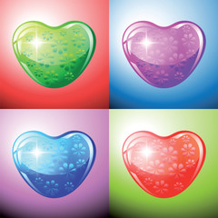 Heart shapes on colorful background to the Valentine's day.