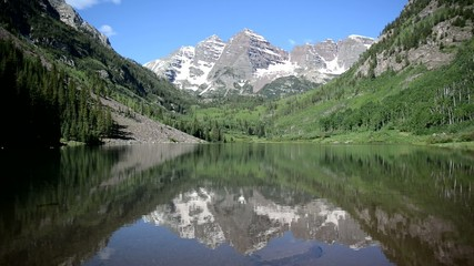 Maroon Bells with stream, Rocky Mountains, Colorado HD video
