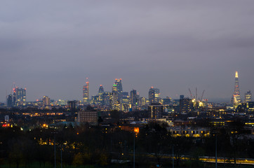 London, city skyline from Parliament Hill
