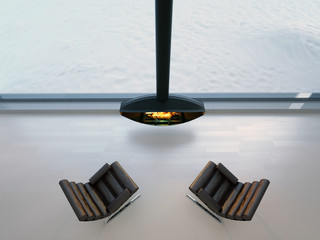 3d chairs near fireplace