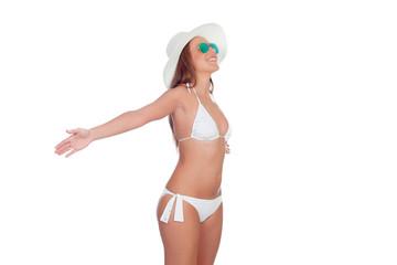 Woman in bikini expressing freedom