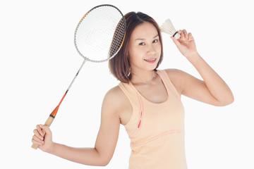 beautiful girl play badminton