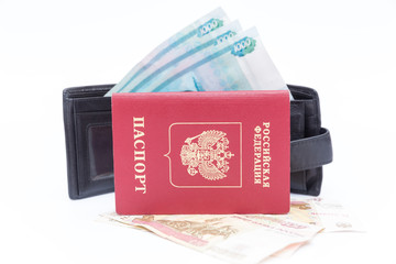 foreign passport and wallet with money