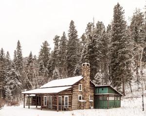 A Cabin in Winter in Custer State Park