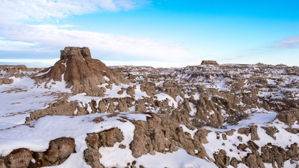 Butte in the Badlands in Winter