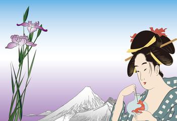 鳥高斎栄昌 美人画と広重 堀切の花菖蒲のイメージイラスト